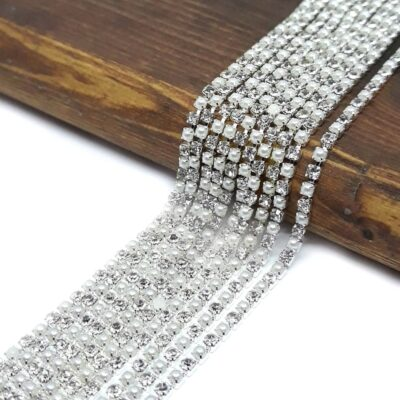 2mm Catena Perle e Strass argento crystal